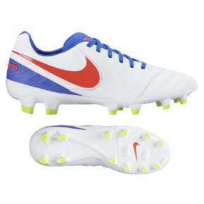 Nike Womens  Tiempo Legacy II FG Soccer Shoes (White/Crimson)