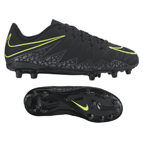 Nike Youth HyperVenom Phelon II FG Soccer Shoes (Black/Volt)