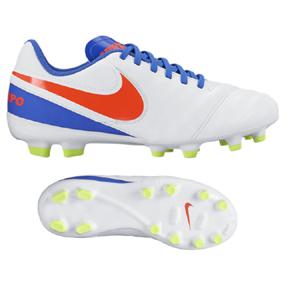 Nike Youth Tiempo Legend VI FG Soccer Shoes (White/Crimson)