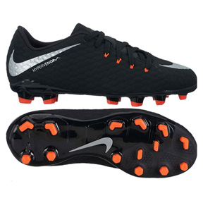 Nike Youth HyperVenom Phelon  III FG Soccer Shoes (Black/Silver)