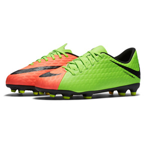 Nike Youth HyperVenom Phade III FG Soccer Shoes (Electric Green)