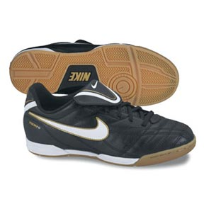 Nike Youth Tiempo Natural III Indoor Shoes (Black/White/Gold)