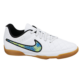 Nike Youth Tiempo Rio II Indoor Soccer Shoes (White Pack)