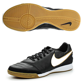 Nike  Tiempo Mystic V IC Indoor Soccer Shoes (Black/White/Gold)