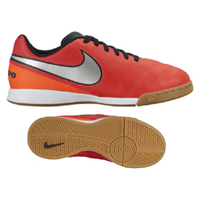 Nike Youth Tiempo Legend VI IC Indoor Soccer Shoes (Crimson/Silver)