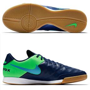 Nike TiempoX Genio II Leather Indoor Soccer Shoes (Blue/Green)