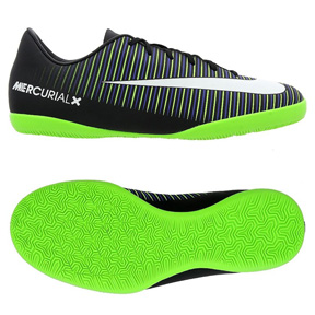 Nike Youth  MercurialX Victory VI Indoor Soccer Shoes (Black/Green)