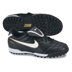 Nike Youth Tiempo Natural III Turf Soccer Shoes (Black/White/Gold)