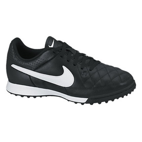 Nike Youth Tiempo Genio Turf Soccer Shoes (Black/White)