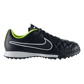 Nike Youth Tiempo Genio Turf Soccer Shoes (Black/White/Volt)