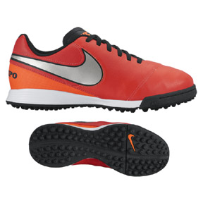 Nike Youth Tiempo Legend VI Turf Soccer Shoes (Crimson/Silver)