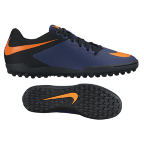 Nike  HyperVenomX Pro Turf Soccer Shoes (Midnight Navy/Orange)