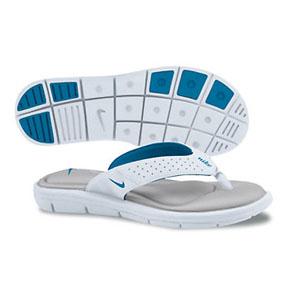 Nike Womens Comfort Thong Soccer Sandal / Slide (White/Cyan)