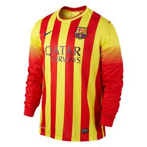 Nike Barcelona Long Sleeve Soccer Jersey (Away 13/14)