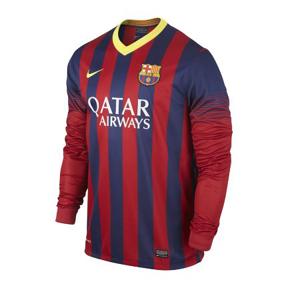 Nike Barcelona Long Sleeve Soccer Jersey (Home 13/14)