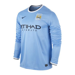 Nike Manchester City Long Sleeve Soccer Jersey (Home 2013/14)
