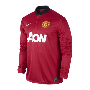Nike Manchester United Long Sleeve Soccer Jersey (Home 13/14)