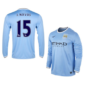 Nike Manchester City Navas #15 LS Soccer Jersey (Home 13/14)