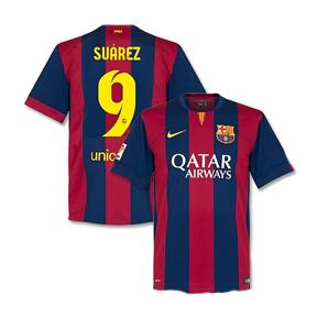 Nike   Barcelona Suarez #9 Soccer Jersey (Home 2014/15)