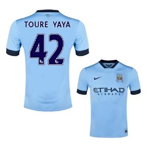 Nike Manchester City Yaya Toure #42 Soccer Jersey (Home 2014/15)