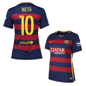 Nike  Womens  Barcelona  Messi #10 Soccer Jersey (Home 2015/16)
