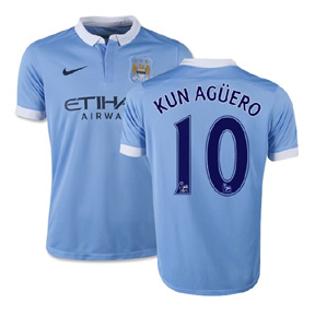 Nike Youth  Manchester City Aguero #10 Soccer Jersey (Home 2015/16)