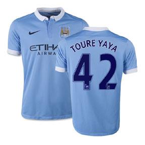 Nike Manchester City Yaya Toure #42 Soccer Jersey (Home 15/16)