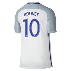 Nike  England  Rooney #10 Euro 2016 Soccer Jersey (Home)