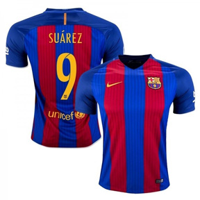 Nike Youth  Barcelona  Suarez #9 Jersey (Home 16/17)