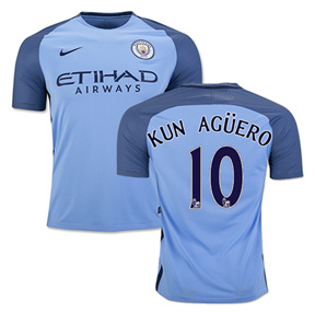 Nike  Manchester City  Aguero #10 Soccer Jersey (Home 2016/17)