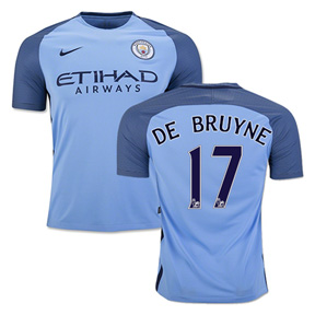 Nike  Manchester City  De Bruyne #17 Soccer Jersey (Home 16/17)