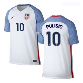 Nike  USA  Christian Pulisic #10 Soccer Jersey (Home 2016/17)