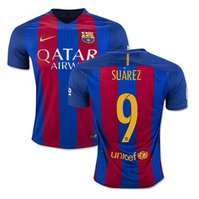 Nike  Barcelona  Suarez #9 Jersey (Home Logo 16/17)