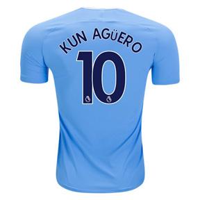 Nike  Manchester City   Aguero #10 Soccer Jersey (Home 17/18)