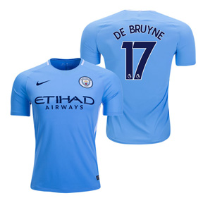 Nike  Manchester City  De Bruyne #17 Soccer Jersey (Home 17/18)
