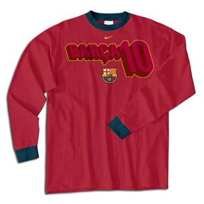 Nike Barcelona Ronaldinho #10 Long Sleeve Tee (Maroon)