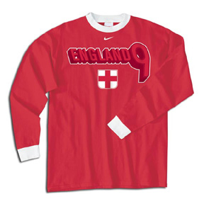 Nike England Wayne Rooney #9 Long Sleeve Soccer Tee (Red)