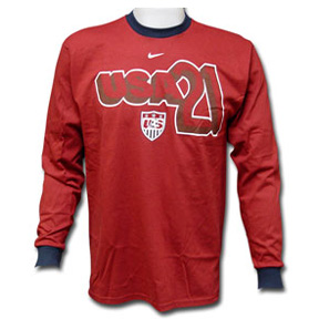 Nike Youth USA Donovan #21 Long Sleeve Soccer Tee (Maroon)