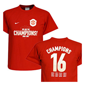 Nike Youth Manchester United 2007 EPL Champs Soccer Tee (Red)
