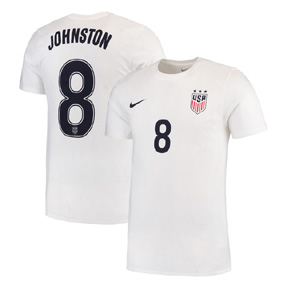 Nike Womens  USA  Julie Johnston #8 Soccer Tee (White 2016/17)