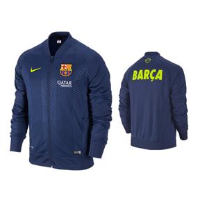 Nike Barcelona Squad Sideline Knit Soccer Track Top (Blue/Volt)