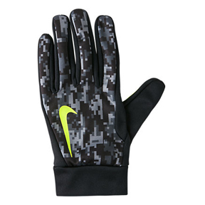 Nike HyperWarm Field Players Soccer Gloves (Black/Volt)