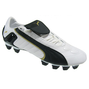 Puma v-Kon II FG Light Soccer Shoes (White/Black/Gold)