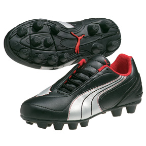 Puma Youth v6.08 HG Soccer Shoes (Black/Silver)