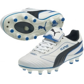Puma Womens King Finale I FG Soccer Shoes (White/Royal)