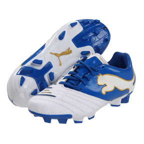 Puma Youth Powercat 3.12 FG Soccer Shoes (White/Royal)