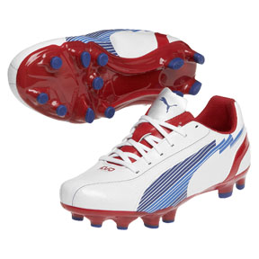 Puma Youth evoSpeed 5 FG Soccer Shoes (White/Red)