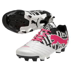 Puma Powercat 3 Graphic FG Soccer Shoes (White/Black/Pink)
