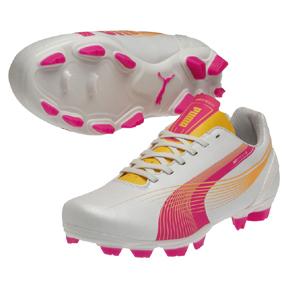 Puma Womens evoSpeed 5.2 FG Soccer Shoes (White/Pink)