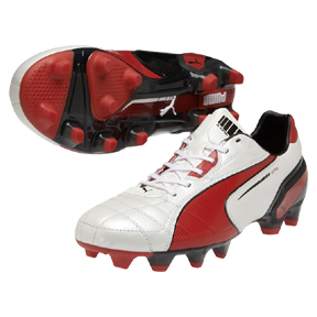 Puma King FG Soccer Shoes (White/Red)